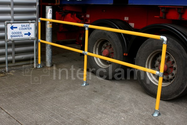 Golden yellow coloured barrier kit in loading bay