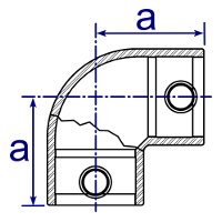 Dimensions Image 2 - 125 - 90° Elbow
